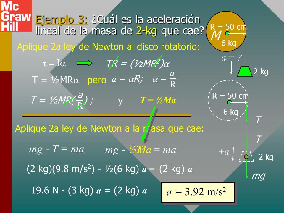 Ejemplo 3: ¿Cuál es la aceleración lineal de la masa de 2-kg que cae