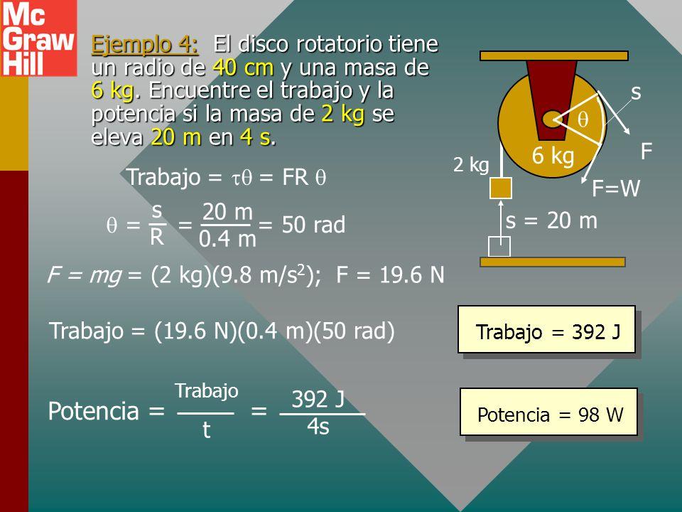 Ejemplo 4: El disco rotatorio tiene un radio de 40 cm y una masa de 6 kg. Encuentre el trabajo y la potencia si la masa de 2 kg se eleva 20 m en 4 s.