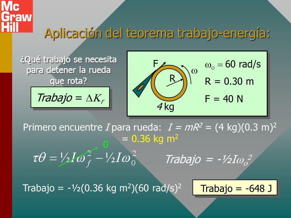 Aplicación del teorema trabajo-energía: