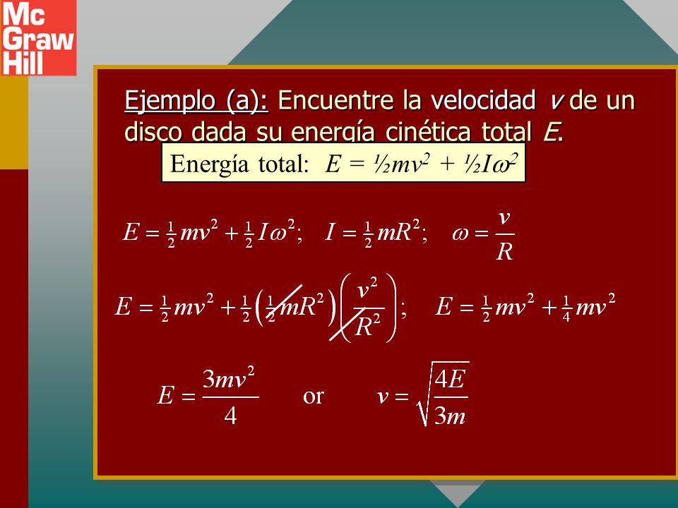 Energía total: E = ½mv2 + ½Iw2