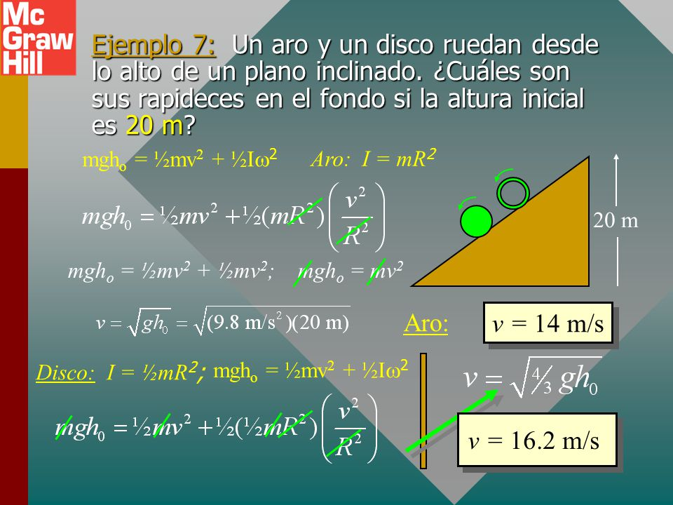 mgho = ½mv2 + ½mv2; mgho = mv2