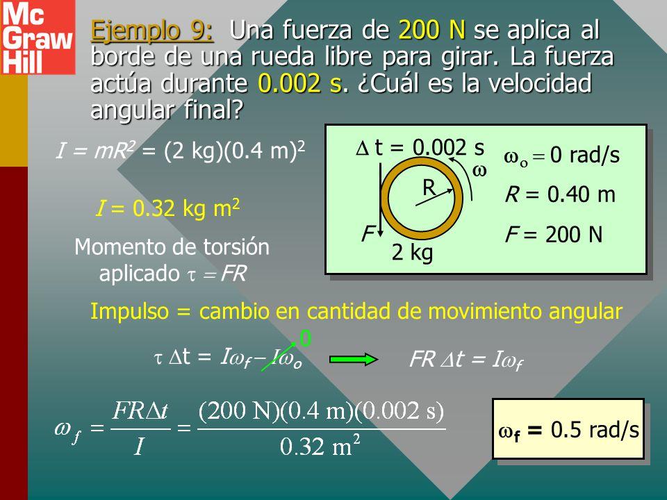 Ejemplo 9: Una fuerza de 200 N se aplica al borde de una rueda libre para girar. La fuerza actúa durante 0.002 s. ¿Cuál es la velocidad angular final