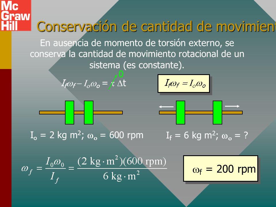 Conservación de cantidad de movimiento