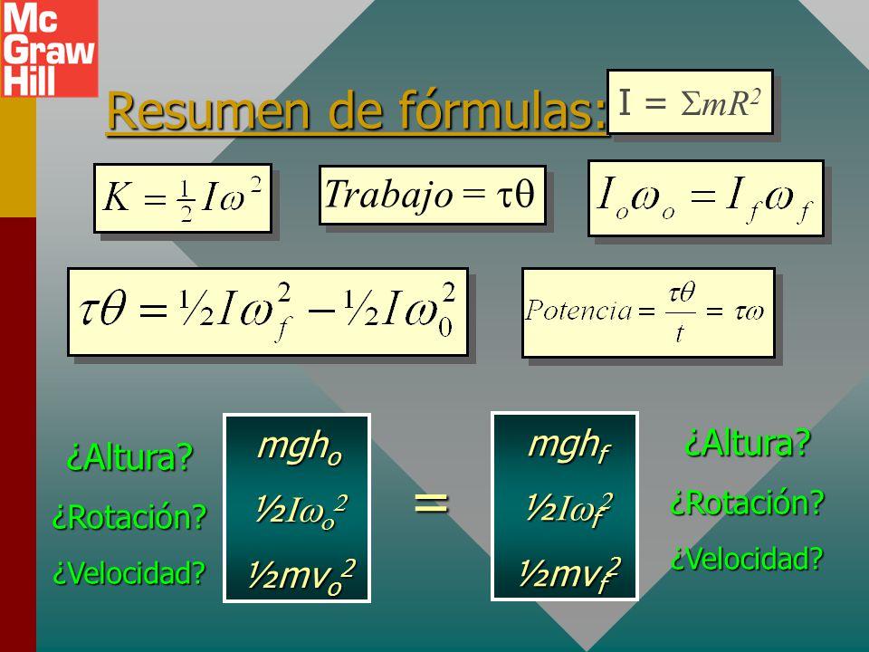 = Resumen de fórmulas: Trabajo = tq I = SmR2 mgho mghf ¿Altura ½Iwo2