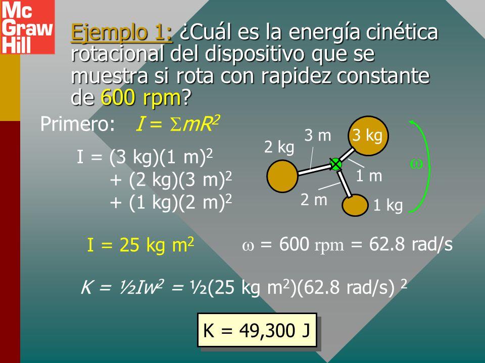 I = (3 kg)(1 m)2 + (2 kg)(3 m)2 + (1 kg)(2 m)2