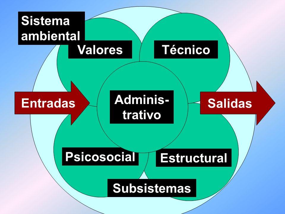 Sistema ambiental Técnico. Valores. Adminis- trativo. Entradas. Salidas. Psicosocial. Estructural.