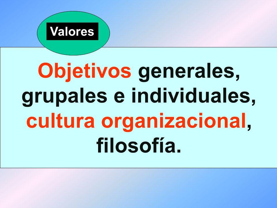 Valores Objetivos generales, grupales e individuales, cultura organizacional, filosofía.