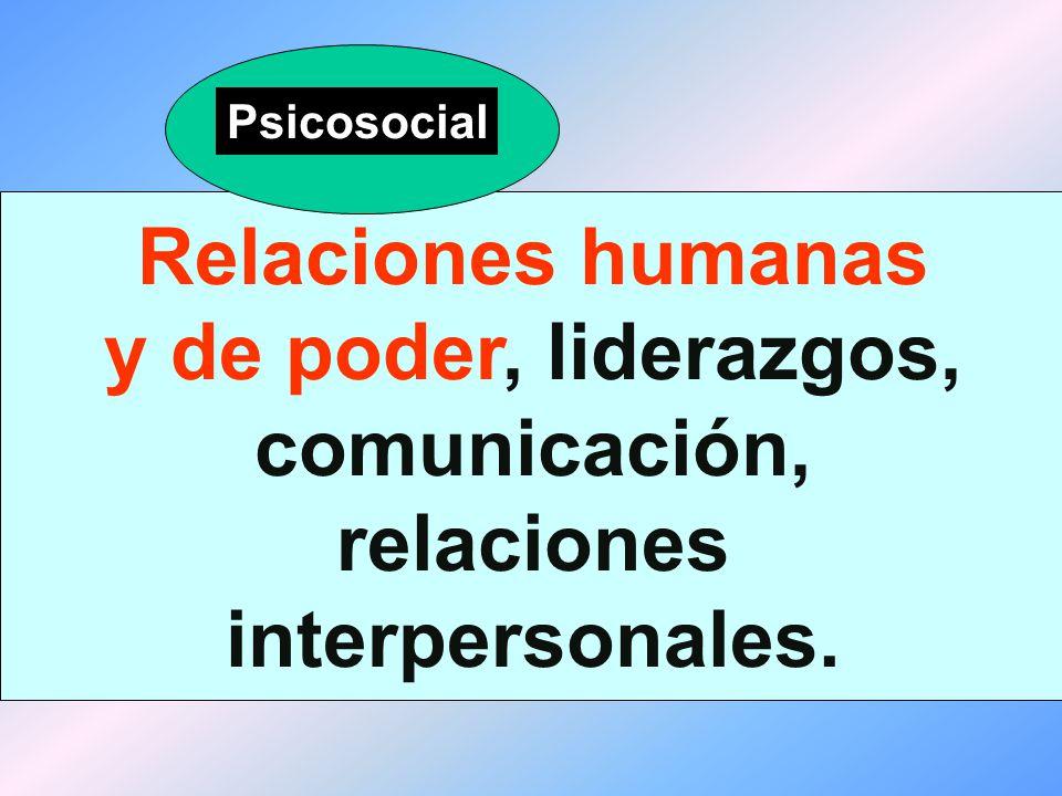 Psicosocial Relaciones humanas y de poder, liderazgos, comunicación, relaciones interpersonales.