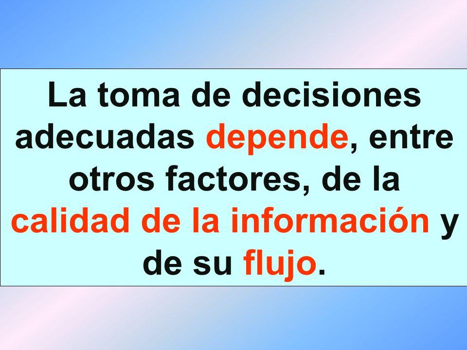 La toma de decisiones adecuadas depende, entre otros factores, de la calidad de la información y de su flujo.