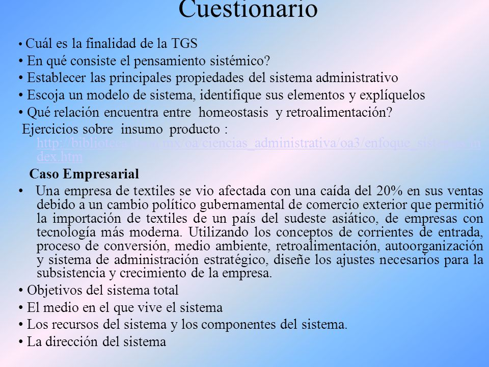 Cuestionario • En qué consiste el pensamiento sistémico
