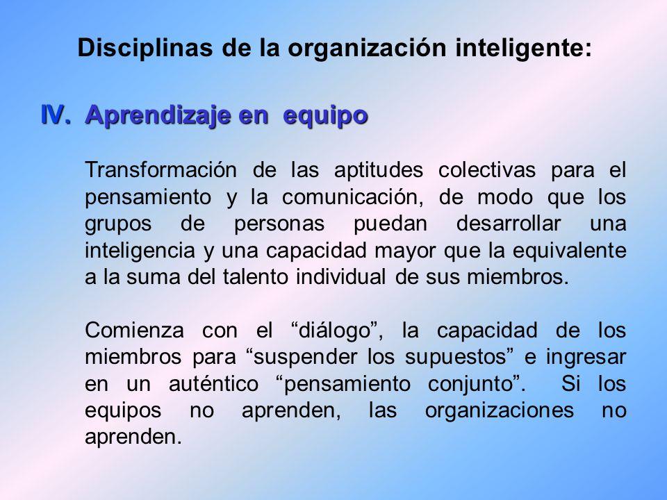 Disciplinas de la organización inteligente: