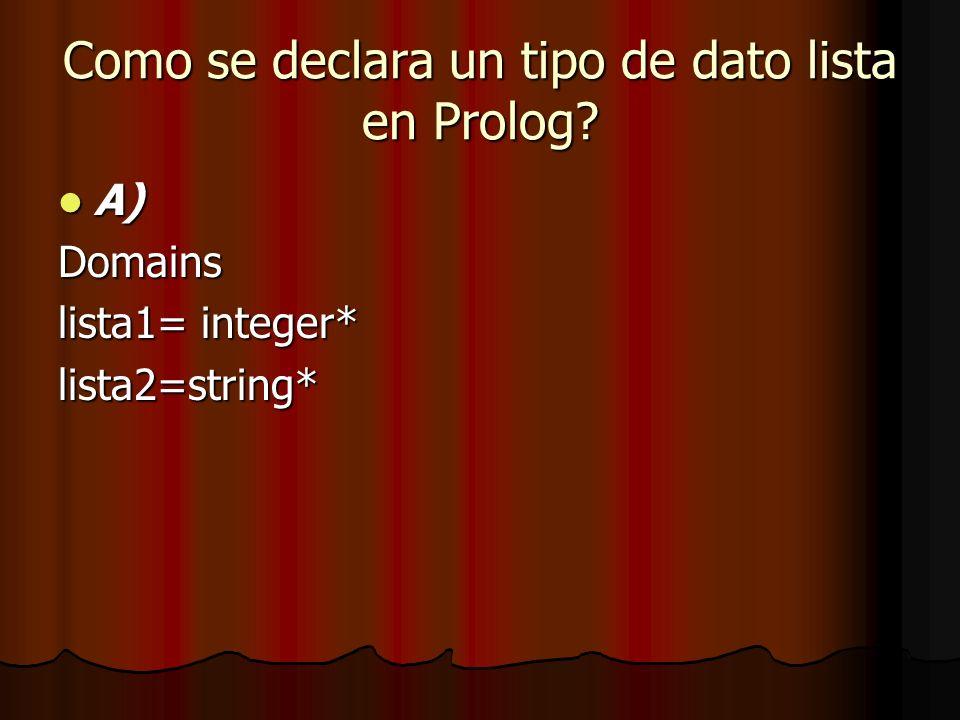 Como se declara un tipo de dato lista en Prolog