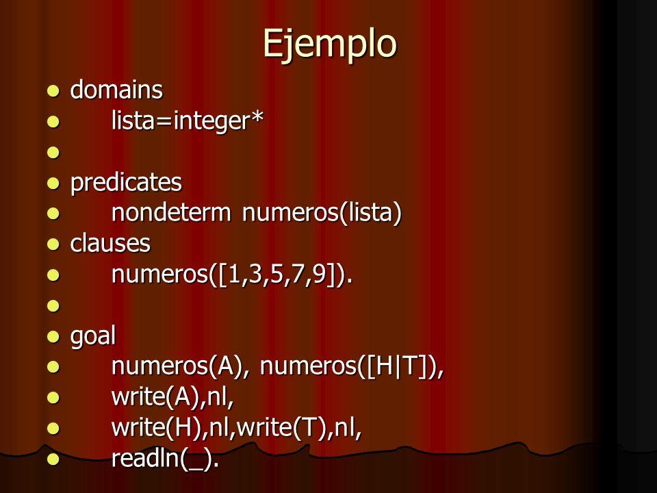 Ejemplo domains lista=integer* predicates nondeterm numeros(lista)