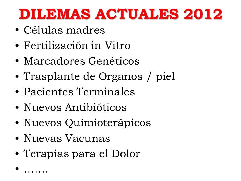 DILEMAS ACTUALES 2012 Células madres Fertilización in Vitro