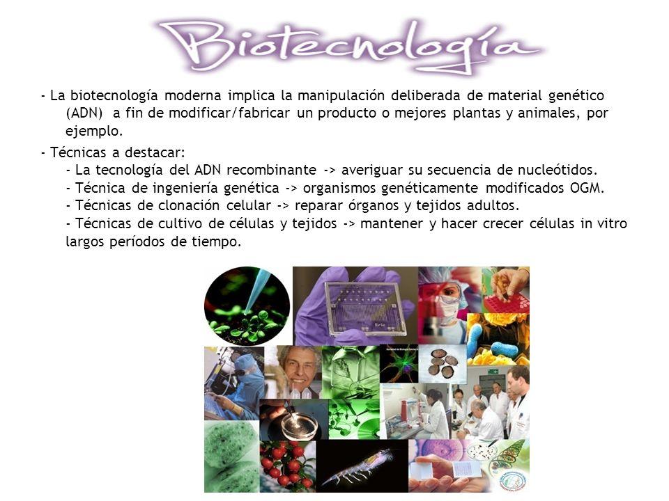 - La biotecnología moderna implica la manipulación deliberada de material genético (ADN) a fin de modificar/fabricar un producto o mejores plantas y animales, por ejemplo.