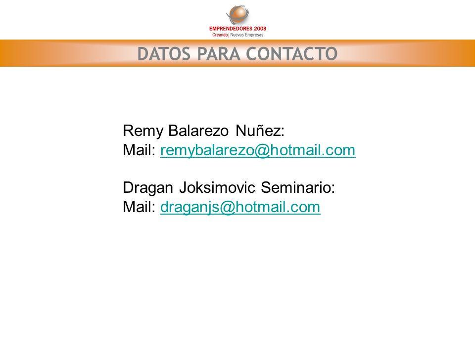 DATOS PARA CONTACTO Remy Balarezo Nuñez: