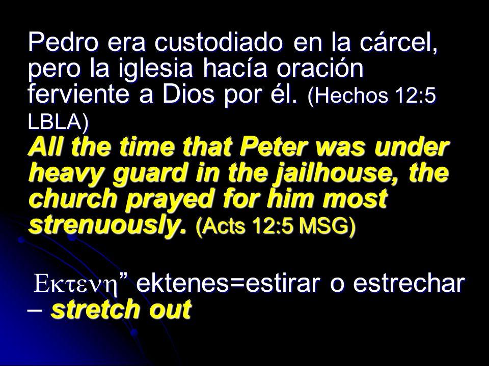 Pedro era custodiado en la cárcel, pero la iglesia hacía oración ferviente a Dios por él. (Hechos 12:5 LBLA) All the time that Peter was under heavy guard in the jailhouse, the church prayed for him most strenuously. (Acts 12:5 MSG)