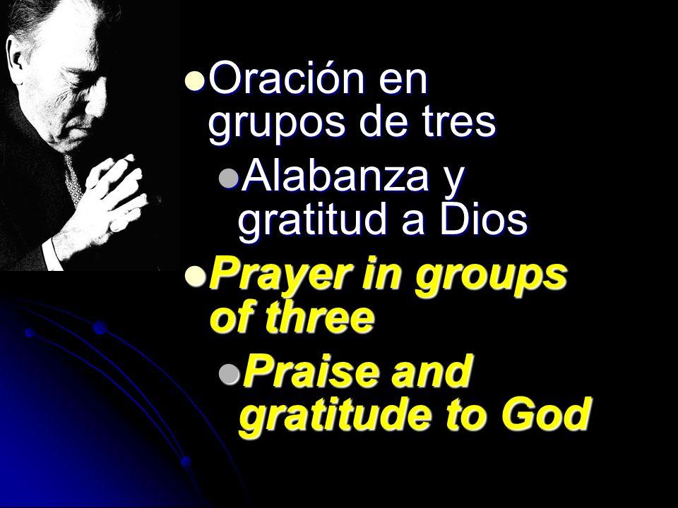 Oración en grupos de tres