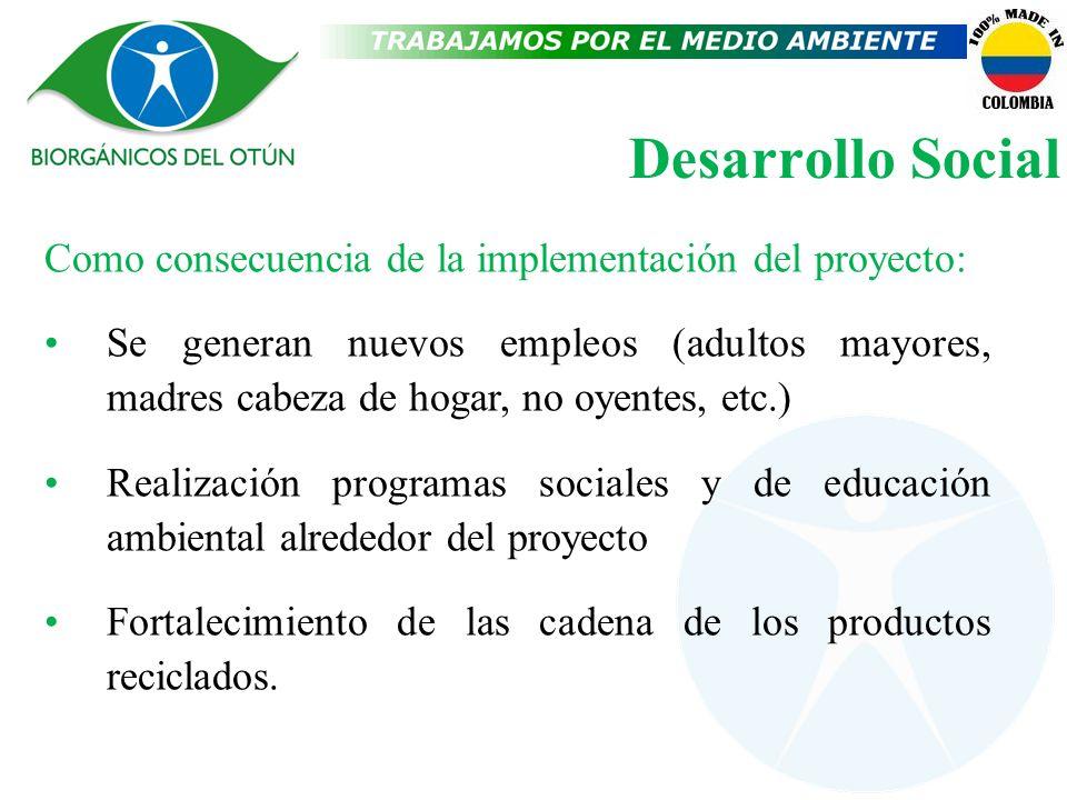 Desarrollo Social Como consecuencia de la implementación del proyecto: