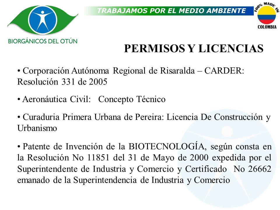 PERMISOS Y LICENCIASCorporación Autónoma Regional de Risaralda – CARDER: Resolución 331 de 2005. Aeronáutica Civil: Concepto Técnico.