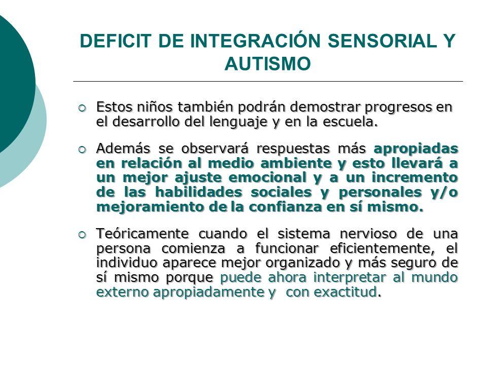 DEFICIT DE INTEGRACIÓN SENSORIAL Y AUTISMO