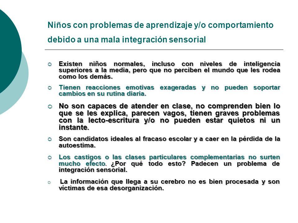 Niños con problemas de aprendizaje y/o comportamiento debido a una mala integración sensorial