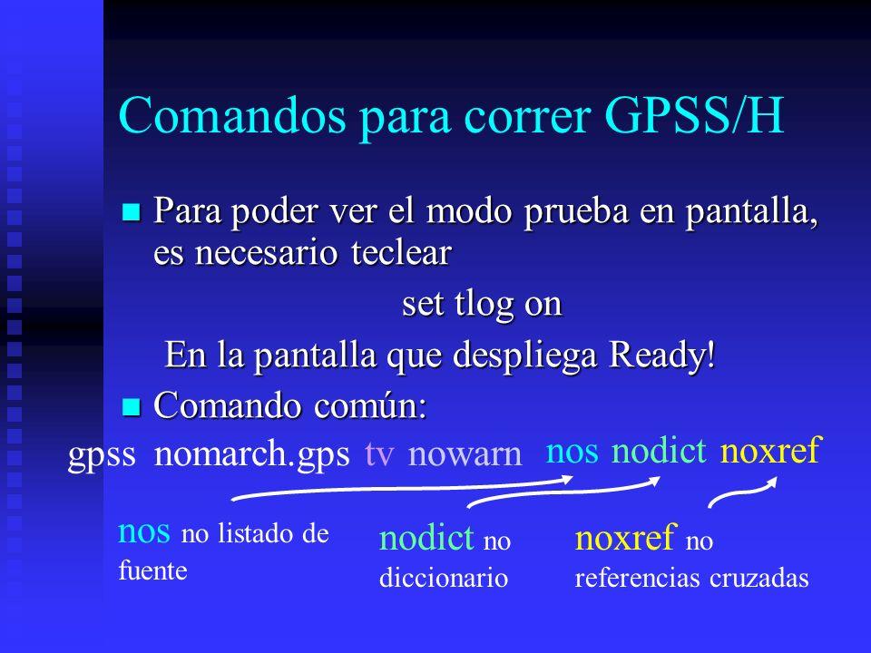 Comandos para correr GPSS/H