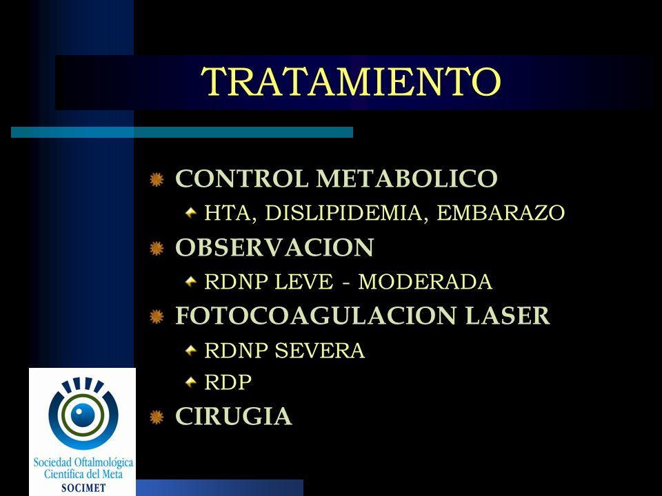 TRATAMIENTO CONTROL METABOLICO OBSERVACION FOTOCOAGULACION LASER