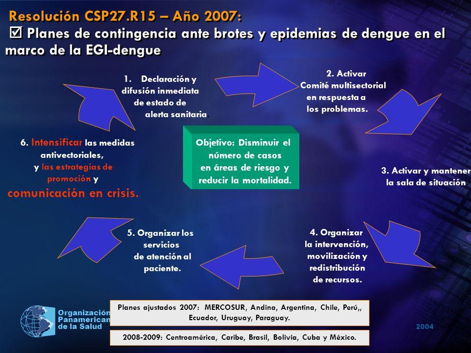 Resolución CSP27.R15 – Año 2007:  Planes de contingencia ante brotes y epidemias de dengue en el marco de la EGI-dengue