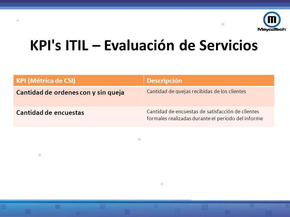 KPI s ITIL – Evaluación de Servicios
