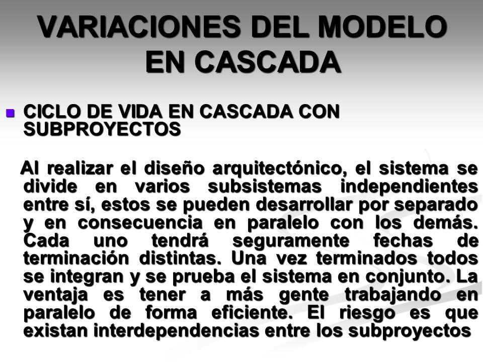 VARIACIONES DEL MODELO EN CASCADA