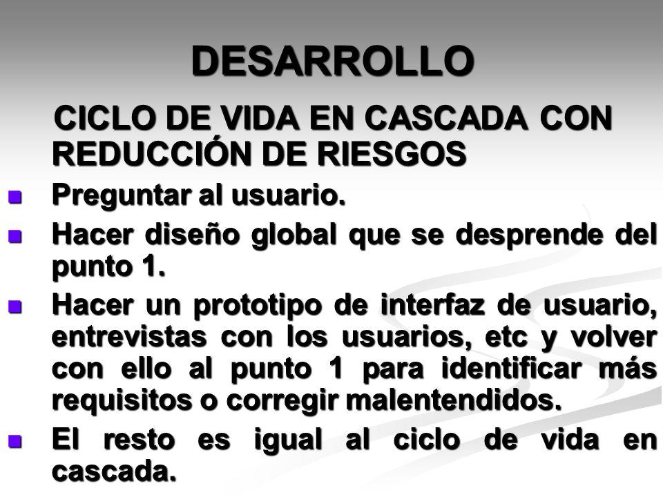 DESARROLLO CICLO DE VIDA EN CASCADA CON REDUCCIÓN DE RIESGOS