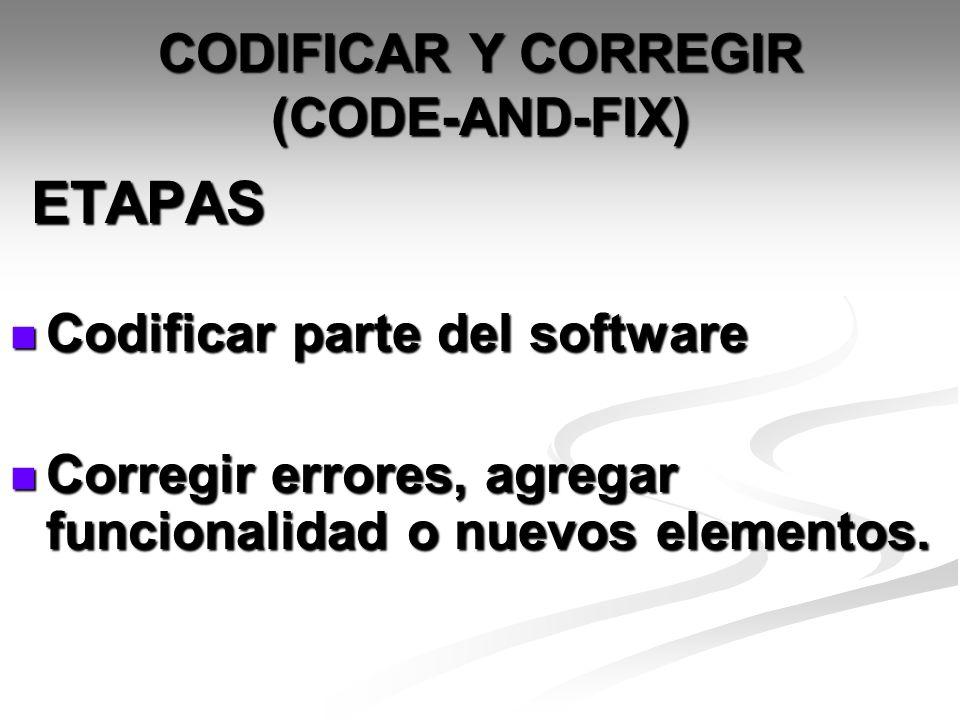 CODIFICAR Y CORREGIR (CODE-AND-FIX)