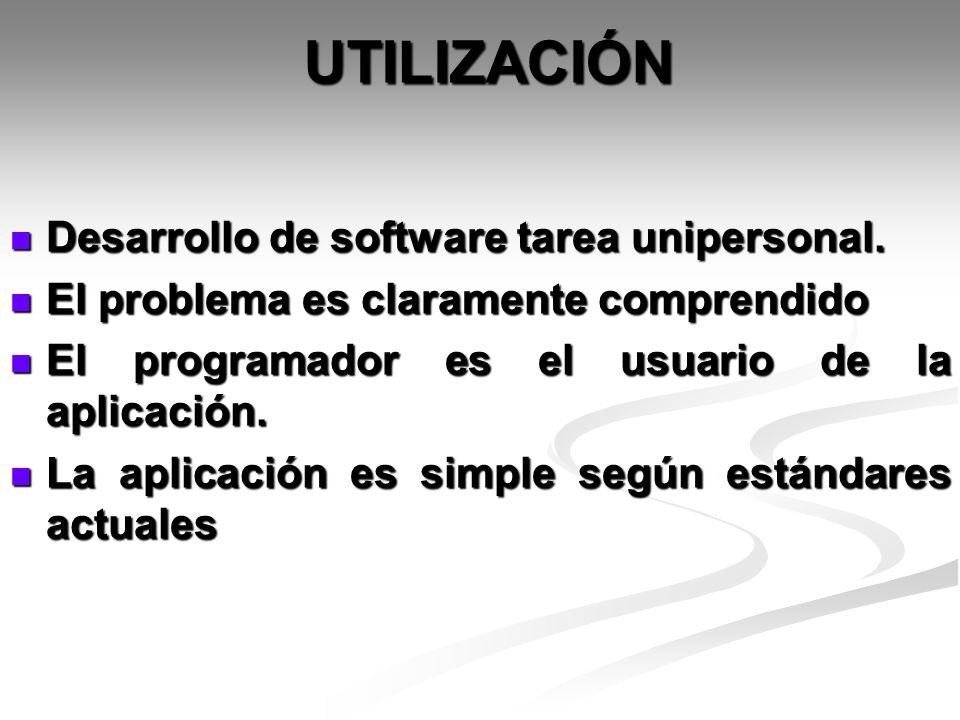 UTILIZACIÓN Desarrollo de software tarea unipersonal.