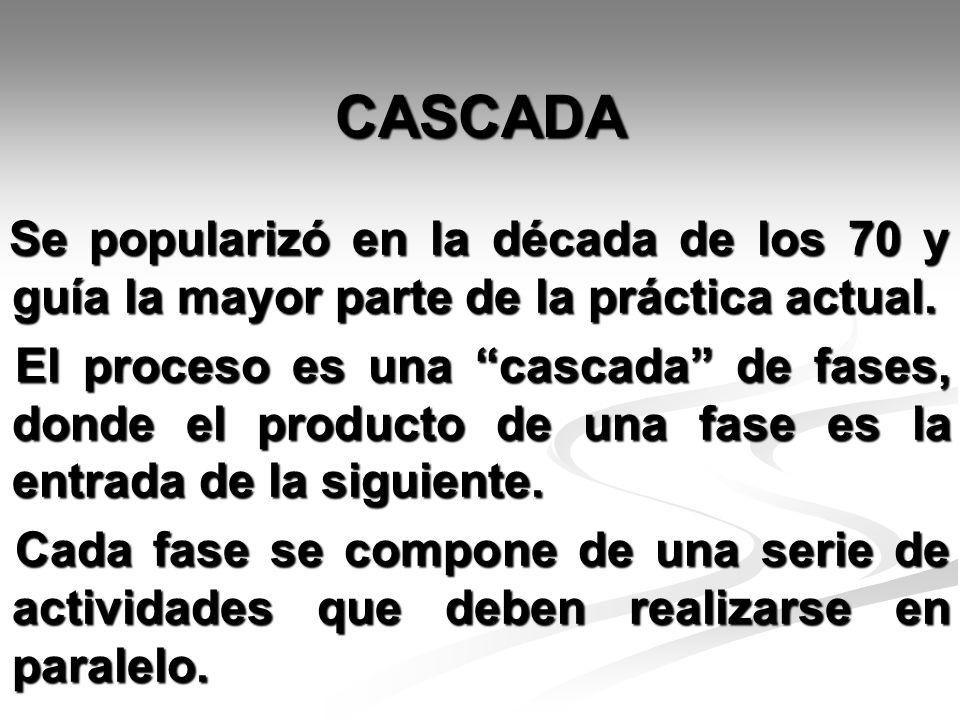 CASCADA Se popularizó en la década de los 70 y guía la mayor parte de la práctica actual.