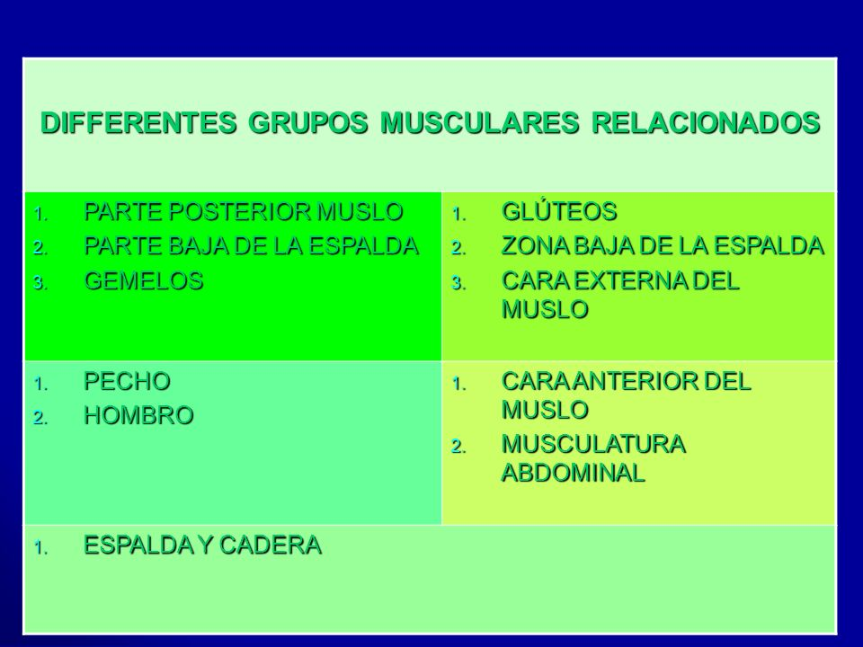 DIFFERENTES GRUPOS MUSCULARES RELACIONADOS