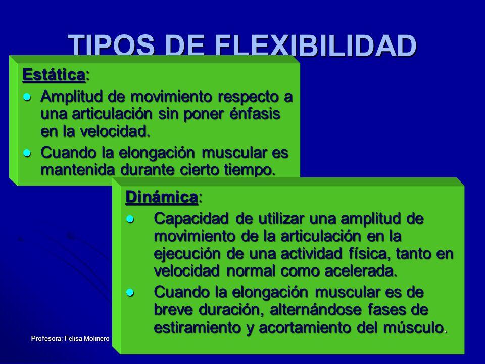 TIPOS DE FLEXIBILIDAD Estática: