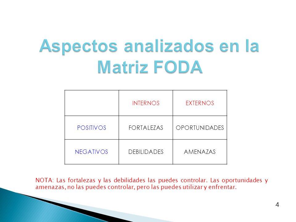 Aspectos analizados en la Matriz FODA