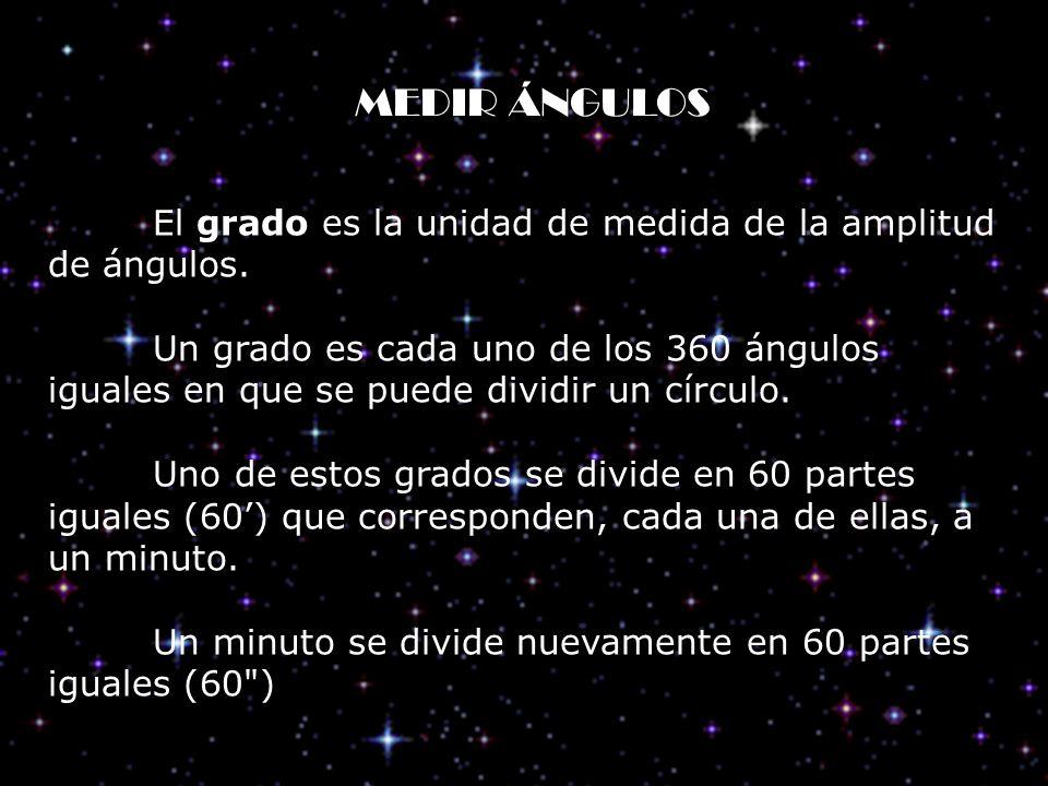 MEDIR ÁNGULOS El grado es la unidad de medida de la amplitud de ángulos.