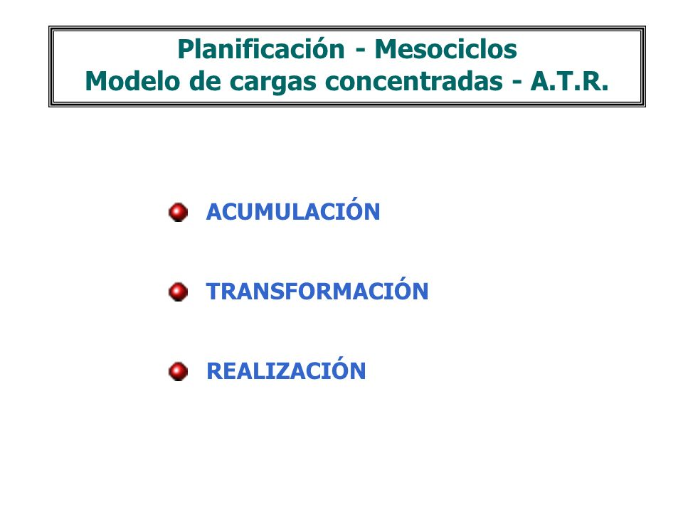Planificación - Mesociclos Modelo de cargas concentradas - A.T.R.