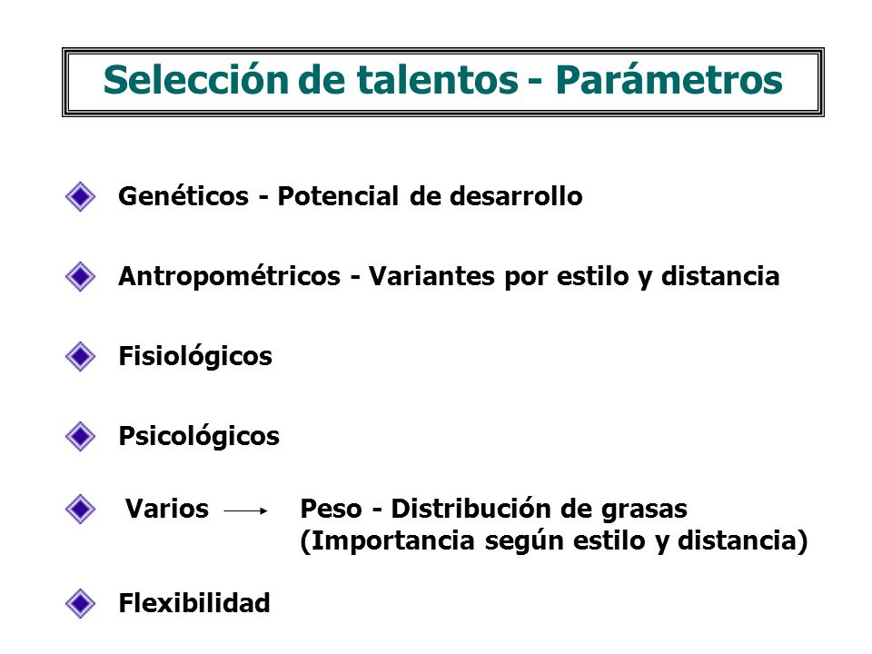 Selección de talentos - Parámetros