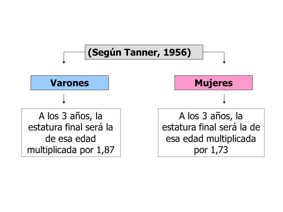 (Según Tanner, 1956) Varones. Mujeres. A los 3 años, la estatura final será la de esa edad multiplicada por 1,87.