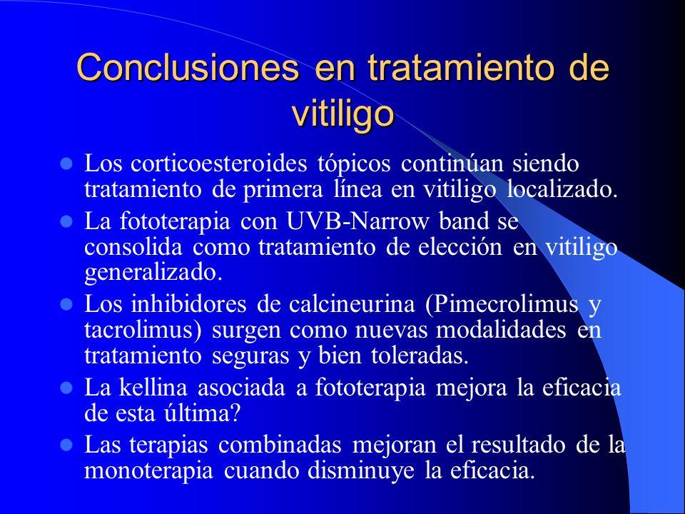 Conclusiones en tratamiento de vitiligo