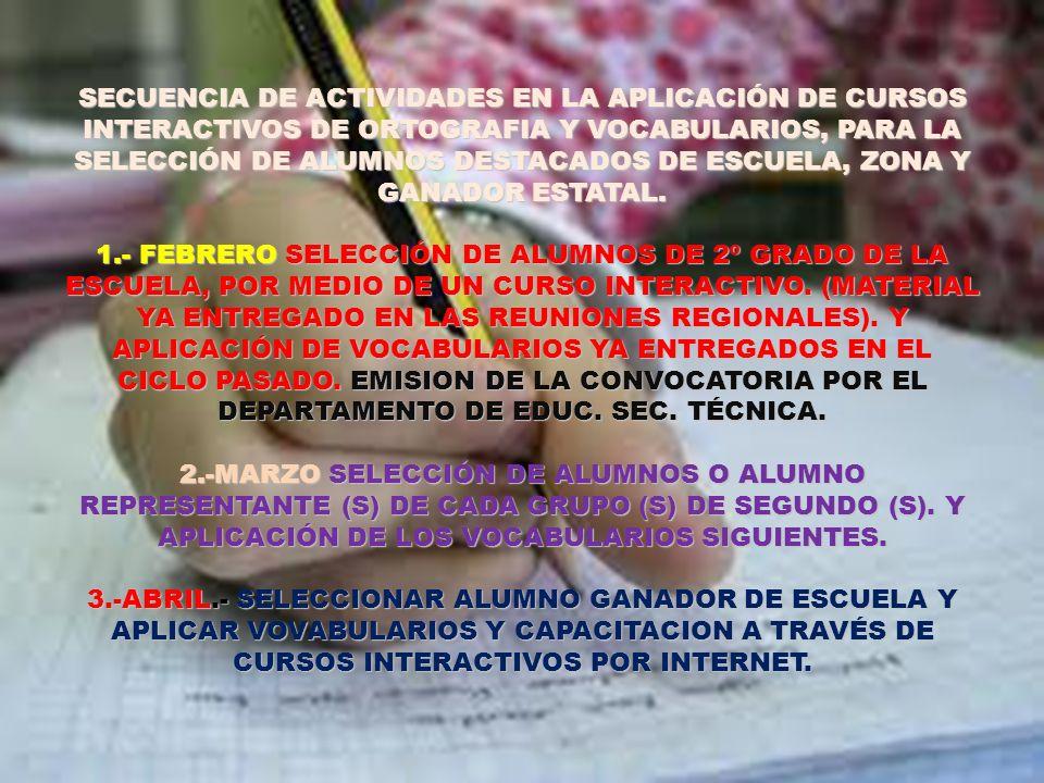 SECUENCIA DE ACTIVIDADES EN LA APLICACIÓN DE CURSOS INTERACTIVOS DE ORTOGRAFIA Y VOCABULARIOS, PARA LA SELECCIÓN DE ALUMNOS DESTACADOS DE ESCUELA, ZONA Y GANADOR ESTATAL.