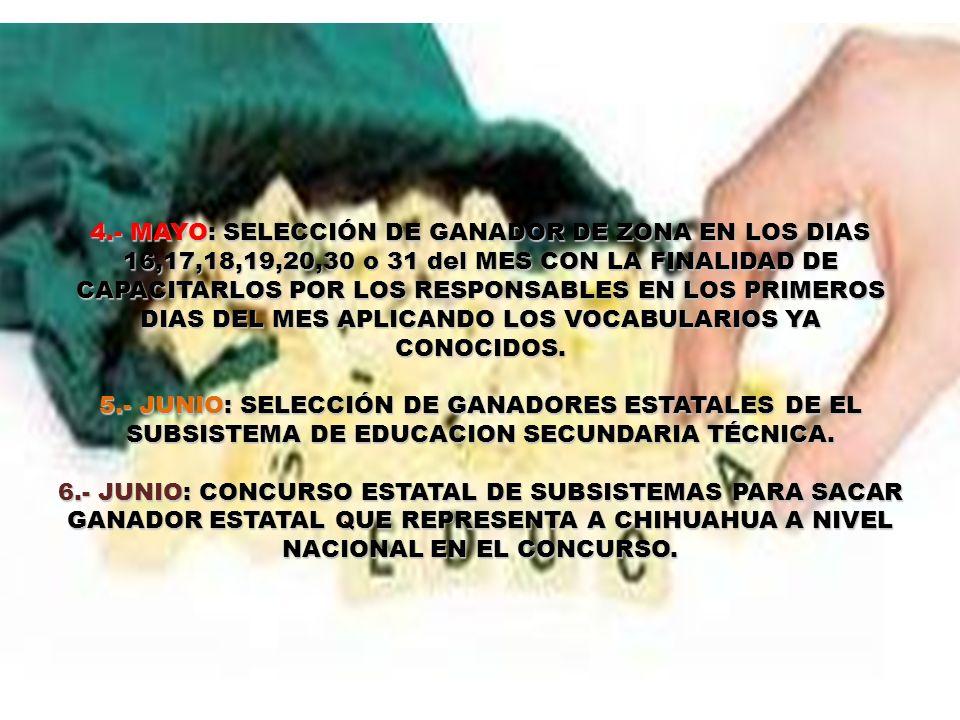 4.- MAYO: SELECCIÓN DE GANADOR DE ZONA EN LOS DIAS 16,17,18,19,20,30 o 31 del MES CON LA FINALIDAD DE CAPACITARLOS POR LOS RESPONSABLES EN LOS PRIMEROS DIAS DEL MES APLICANDO LOS VOCABULARIOS YA CONOCIDOS.