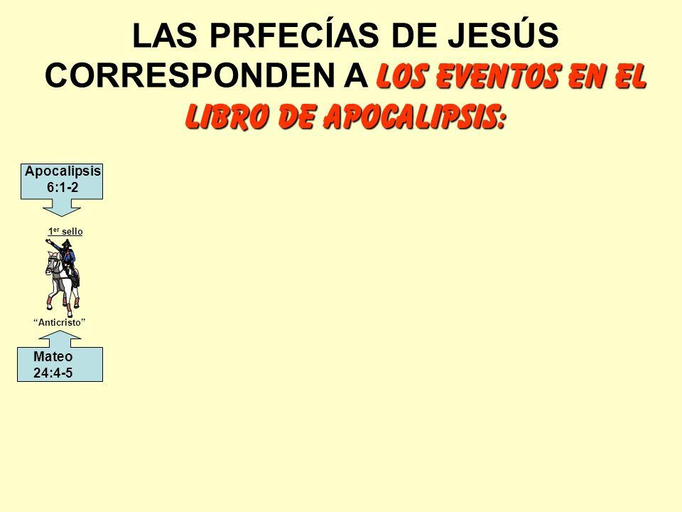 LAS PRFECÍAS DE JESÚS CORRESPONDEN A LOS EVENTOS EN EL LIBRO DE APOCALIPSIS: