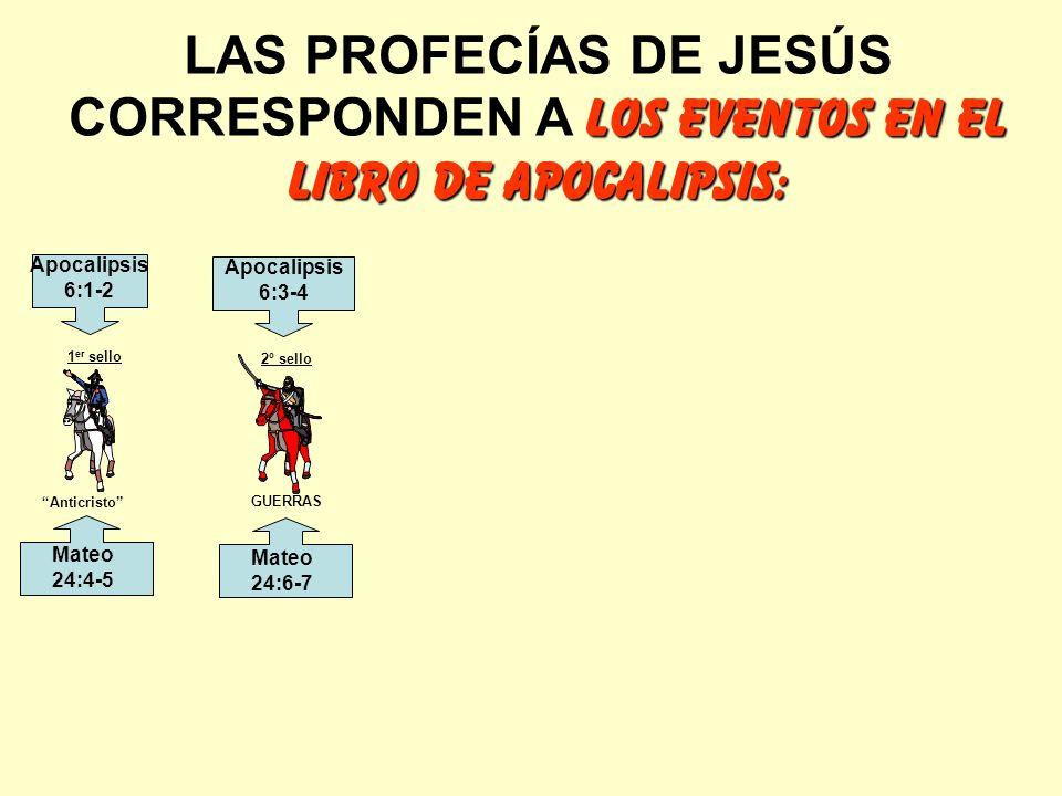 LAS PROFECÍAS DE JESÚS CORRESPONDEN A LOS EVENTOS EN EL LIBRO DE APOCALIPSIS: