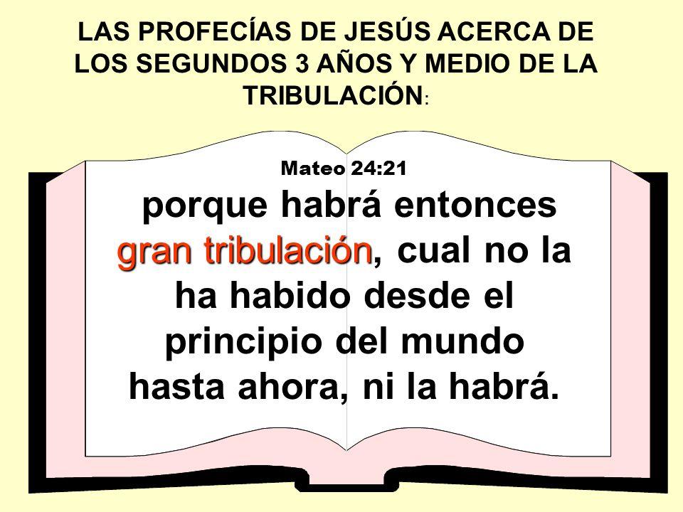 LAS PROFECÍAS DE JESÚS ACERCA DE LOS SEGUNDOS 3 AÑOS Y MEDIO DE LA TRIBULACIÓN: