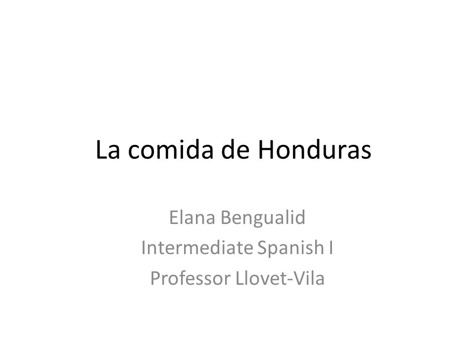 Elana Bengualid Intermediate Spanish I Professor Llovet-Vila