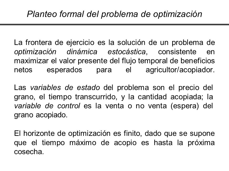 Planteo formal del problema de optimización
